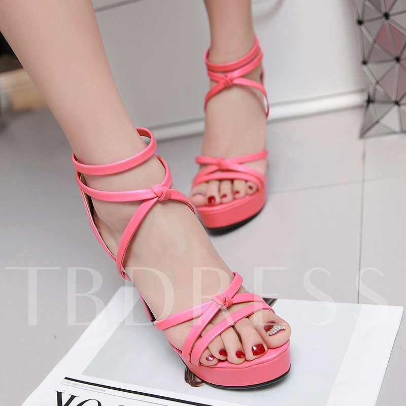 Open Toe Zipper Plain Platform Chunky Heel Women's Sandals