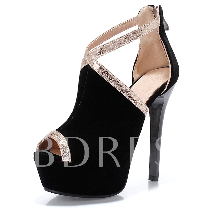Peep Toe Zipper Platform Stiletto Heel Women's Sandals