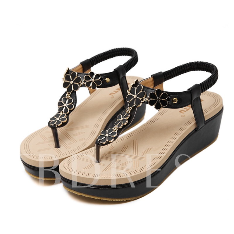Buy Wedge Heel Elastic Band Appliques Platform Women's Sandals, Spring,Summer,Fall, 11680694 for $31.99 in TBDress store