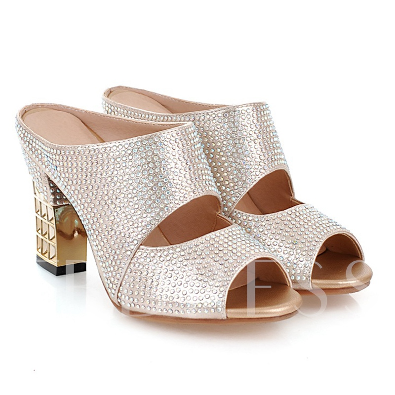 Chunky Heel Slip-On Rhinestone Peep Toe Women's Sandals