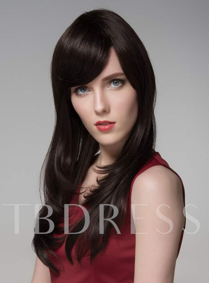 Elegant High Quality Long Straight Human Hair Wigs 24 Inches