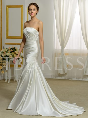 Strapless Ruched Button Mermaid Sweep Train Wedding Dress