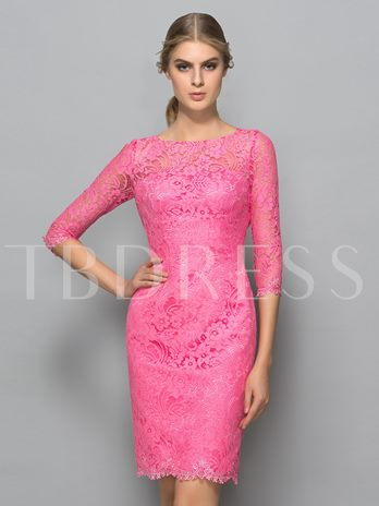 Sheath Scoop Hollow Lace Knee-Length Cocktail Dress