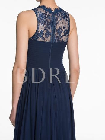 Jewel Neck Lace Ruched Zipper-Up A-Line Bridesmaid Dress