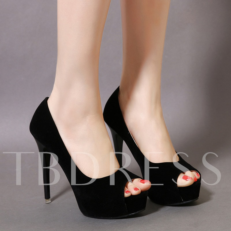 Peep Toe Slip-On Plain Platform Stiletto Heel Women's Pumps