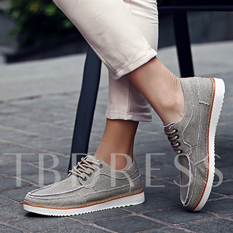 Round Toe Flat Heel Low-Cut Cross Strap Men's Canvas