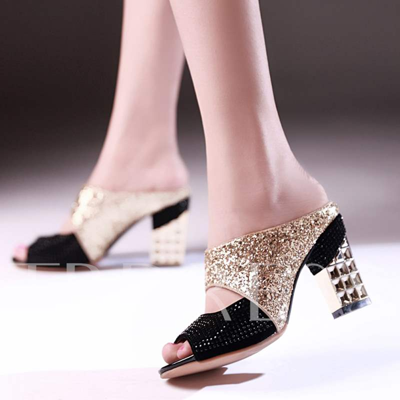 Chunky Heel Slip-On Rhinestone Women's Sandals