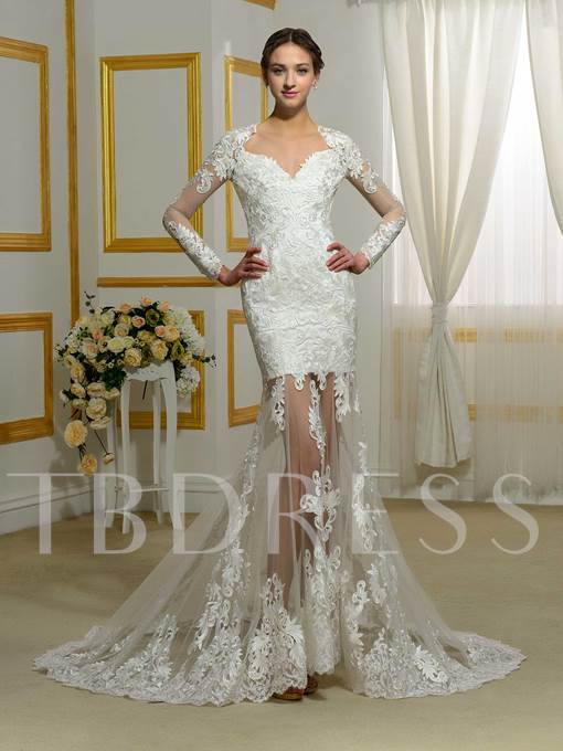 Long Sleeves Sweetheart Appliques Mermaid Wedding Dress
