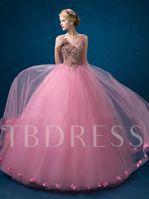 V-Neck Ball Gown Appliques Lace-Up Flowers Quinceanera Dress