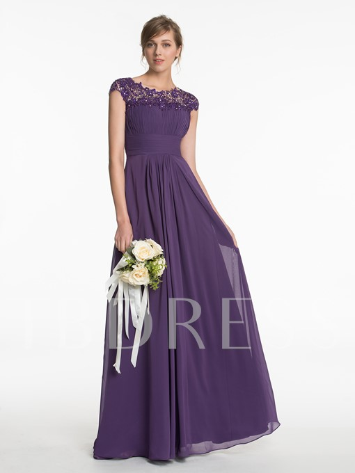Scoop Neck Lace Ruched A-Line Bridesmaid Dress