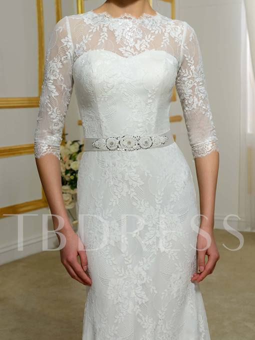 Jewel Neck Half Sleeves Lace Beading Mermaid Wedding Dress