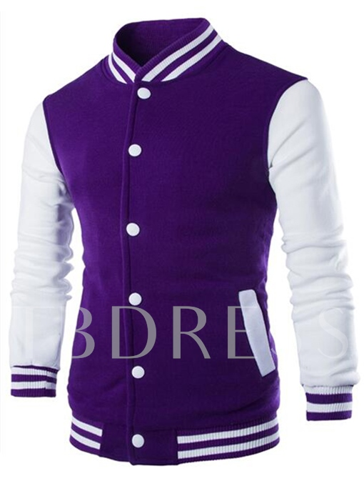 Men's Baseball Jacket with Striped Collar