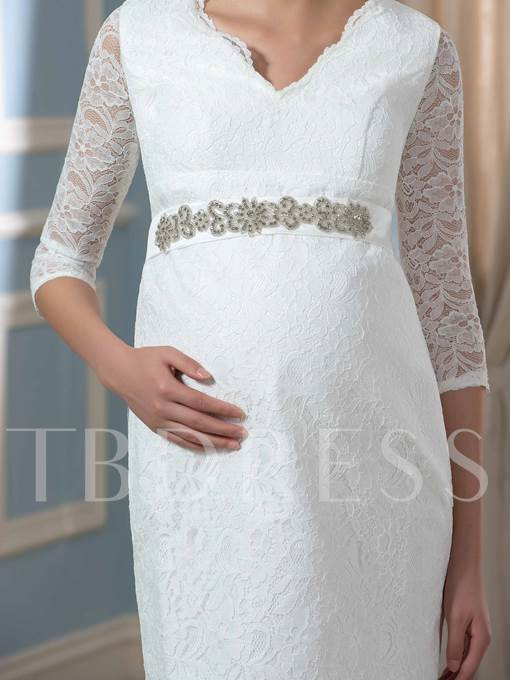 Half Sleeves V-Neck Lace Sheath Beach Wedding Dress