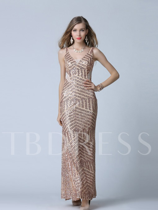 V-Neck A-Line Sequins Floor-Length Evening Dress