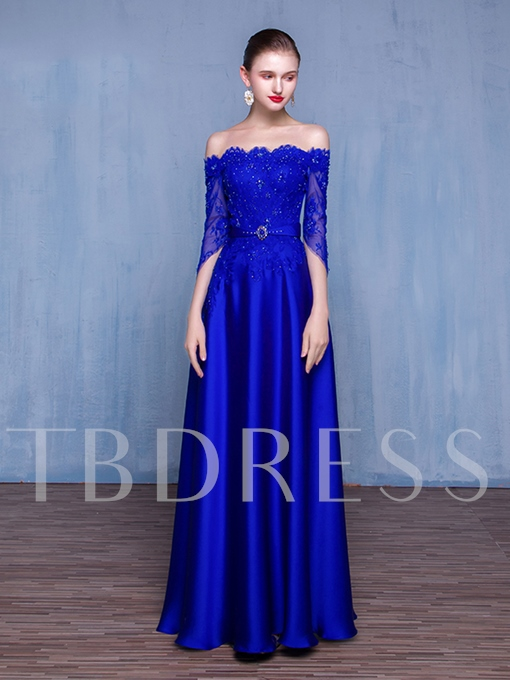 Off-the-Shoulder Sashes A-Line Beading Lace Evening Dress