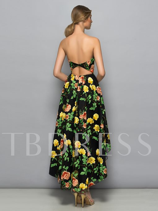 Strapless A-Line Hollow Printed Asymmetry Cocktail Dress