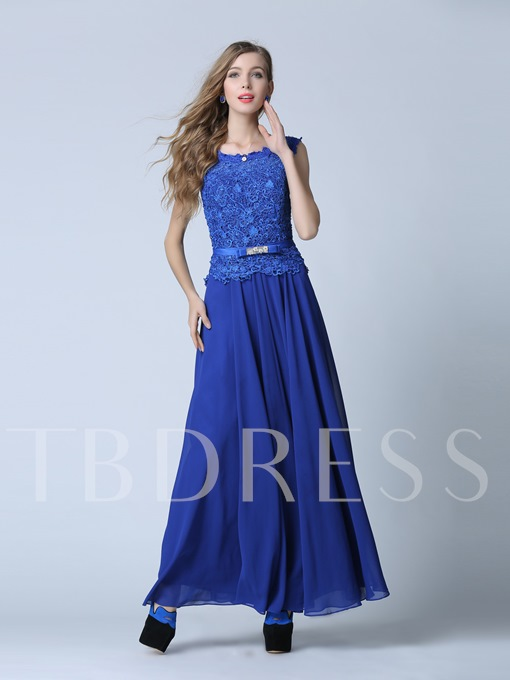 A-Line Scoop Lace Sashes Floor-Length Evening Dress