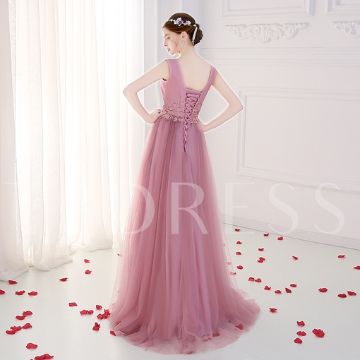 A-Line Bateau Appliques Beading Sashes Floor-Length Evening Dress