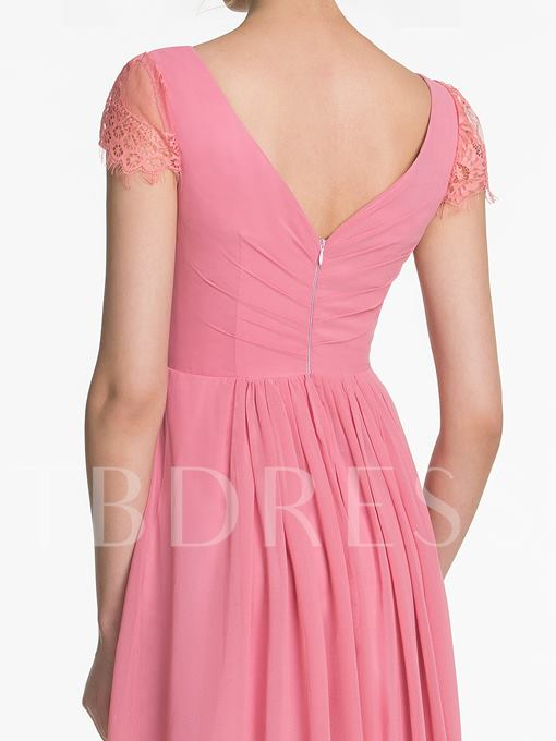 Lace Cap Sleeves Zipper-Up Ruched Floor-Length Bridesmaid Dress