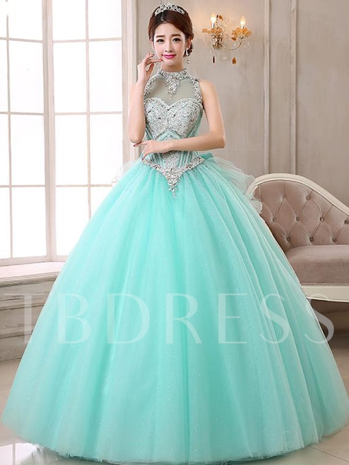 High Neck Ball Gown Beading Bow Rhinestone Quinceanera Dress
