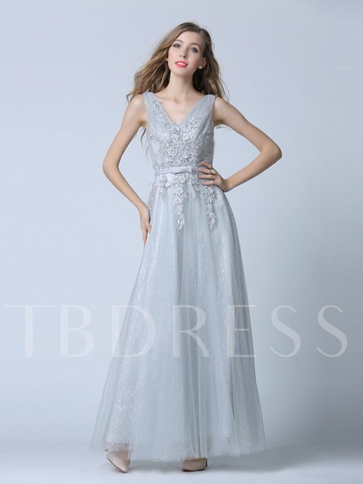 V-Neck A-Line Appliques Sashes Sweep Train Evening Dress