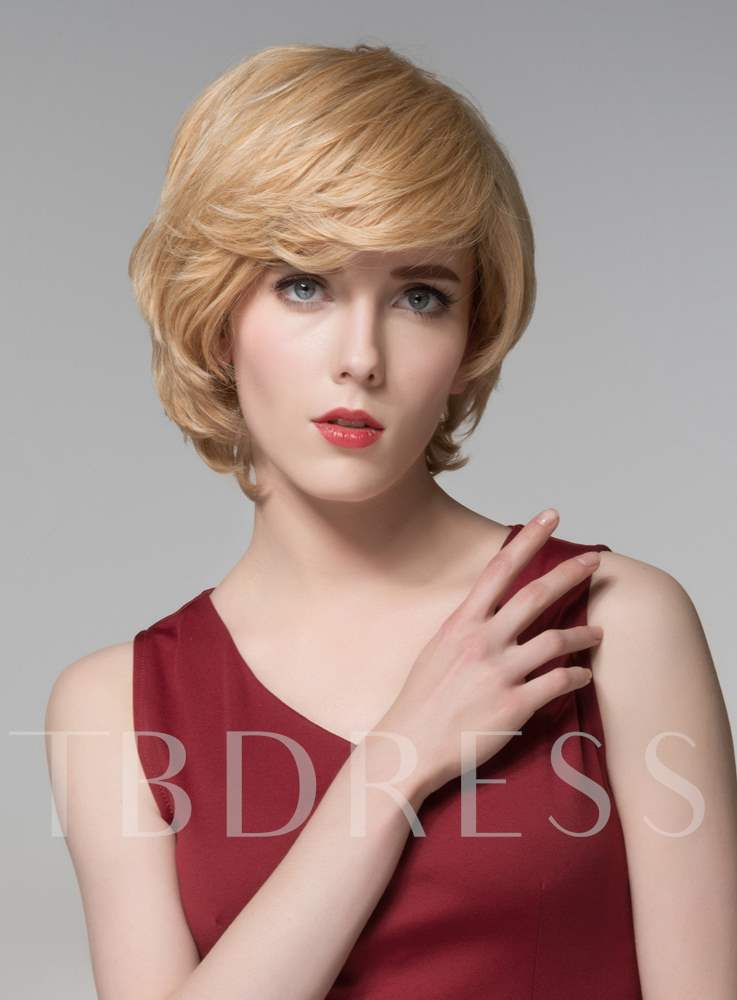 Layered Short Straight Charming Human Hair Capless Wig 8 Inches