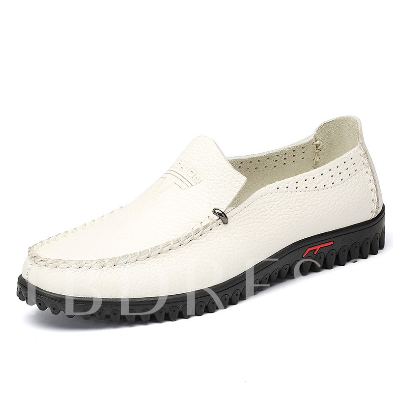 Slip-On White Round Toe Low-Cut Upper Men's Loafers