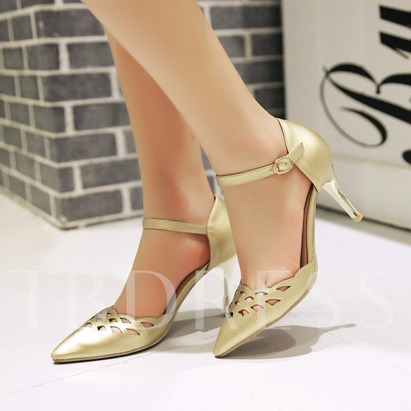 Pointed Toe Plain Hollow Women's Sandals
