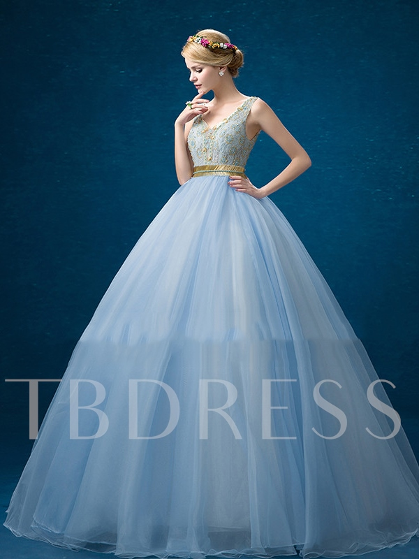 Lace V-Neck Beading Ball Gown Sashes Floor-Length Quinceanera Dress