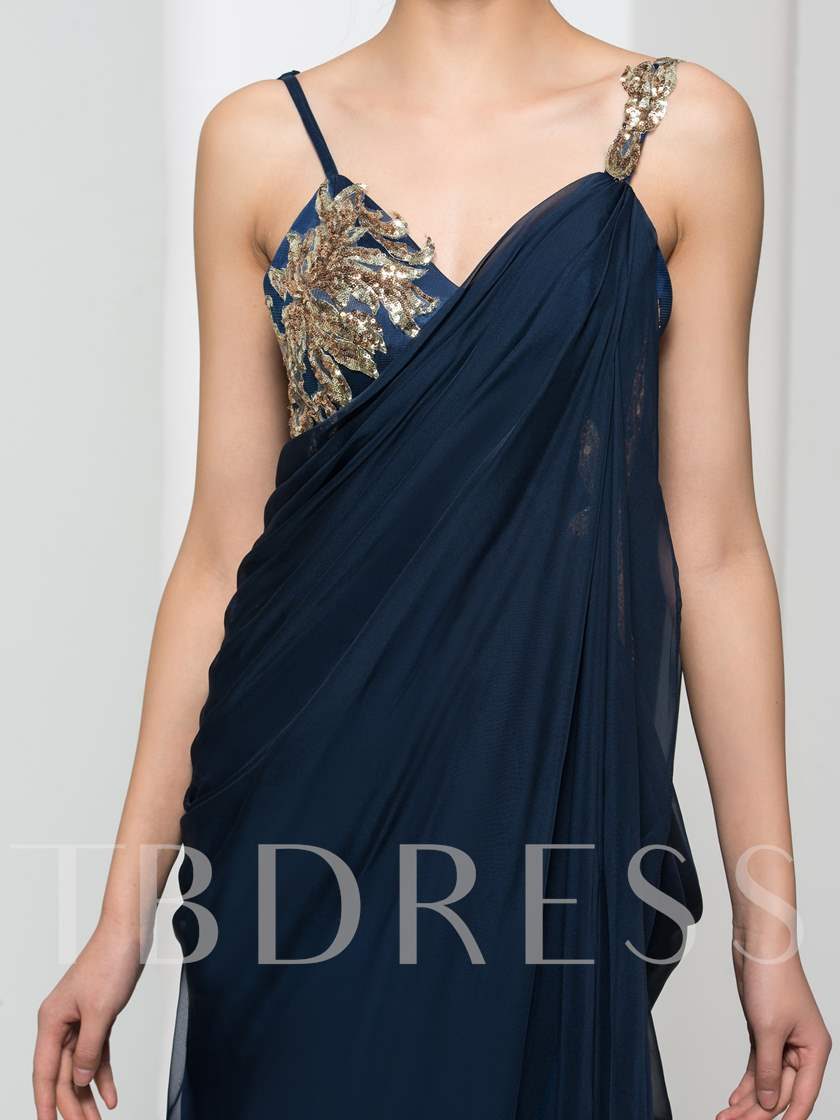 Spaghetti Straps Appliques Pleats Sequins Evening Dress