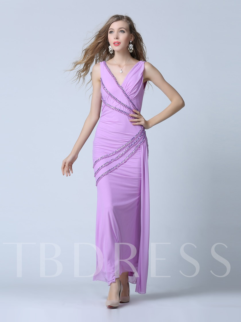 V-Neck Column Beading Pleats Floor-Length Evening Dress