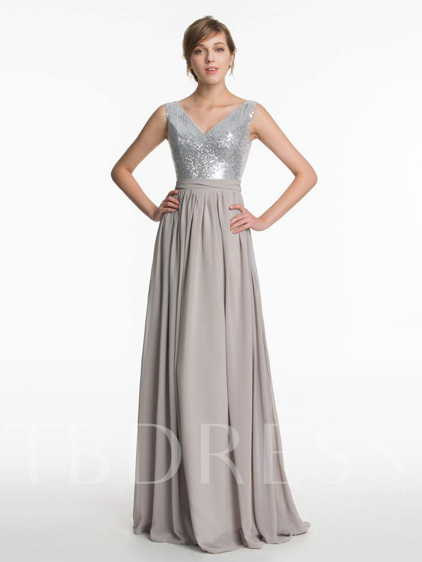 Straps Sequins Sashes Long Bridesmaid Dress