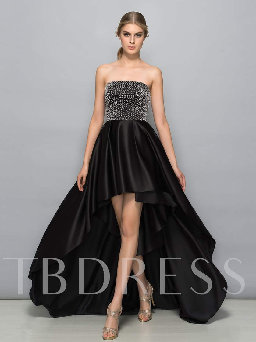 A-Line Strapless Pearls High Low Prom Dress