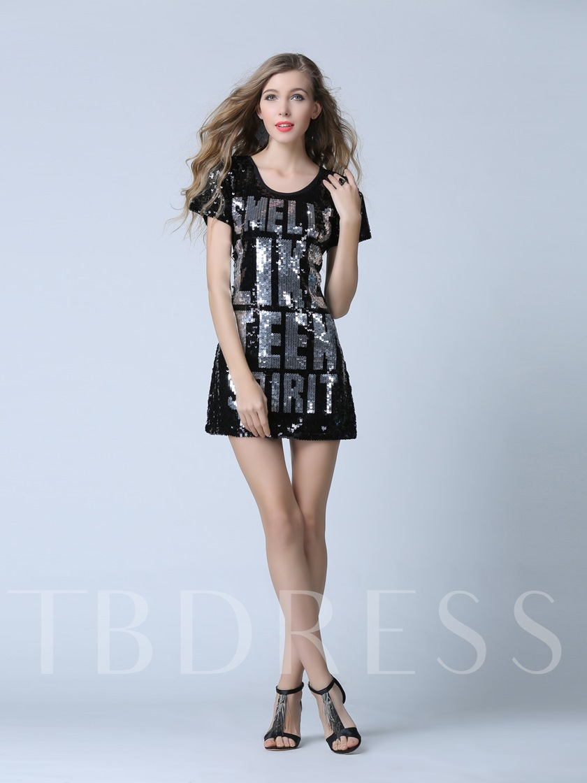 Short Sleeves Scoop Sheath Sequins Short Evening Dress