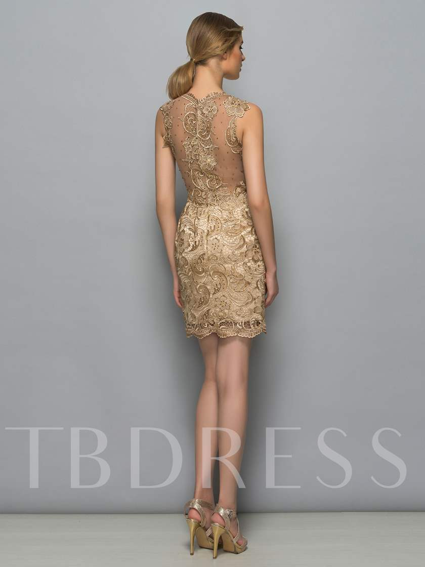 Sheath Jewel Neck Lace Sleeveless Knee-Length Cocktail Dress