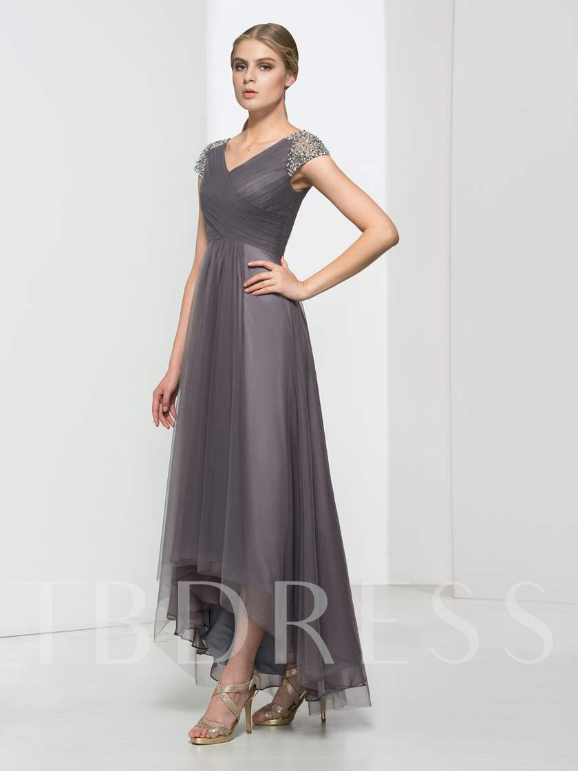 Cap Sleeves A-Line V-Neck Beading Pleats Asymmetry Evening Dress