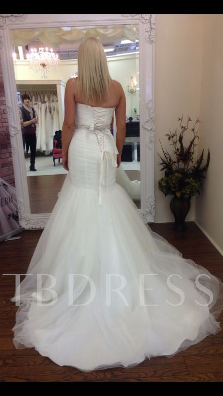 Sweetheart Beading Ruched Mermaid Wedding Dress