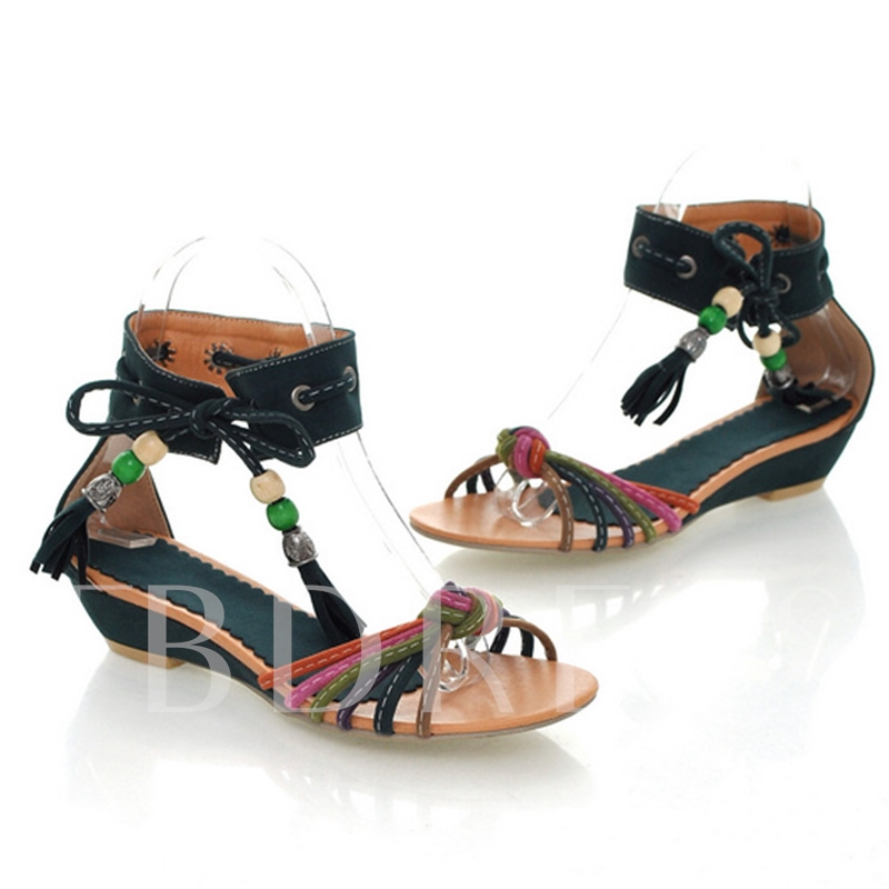 Open Toe Lace-Up Bead Women's Sandals