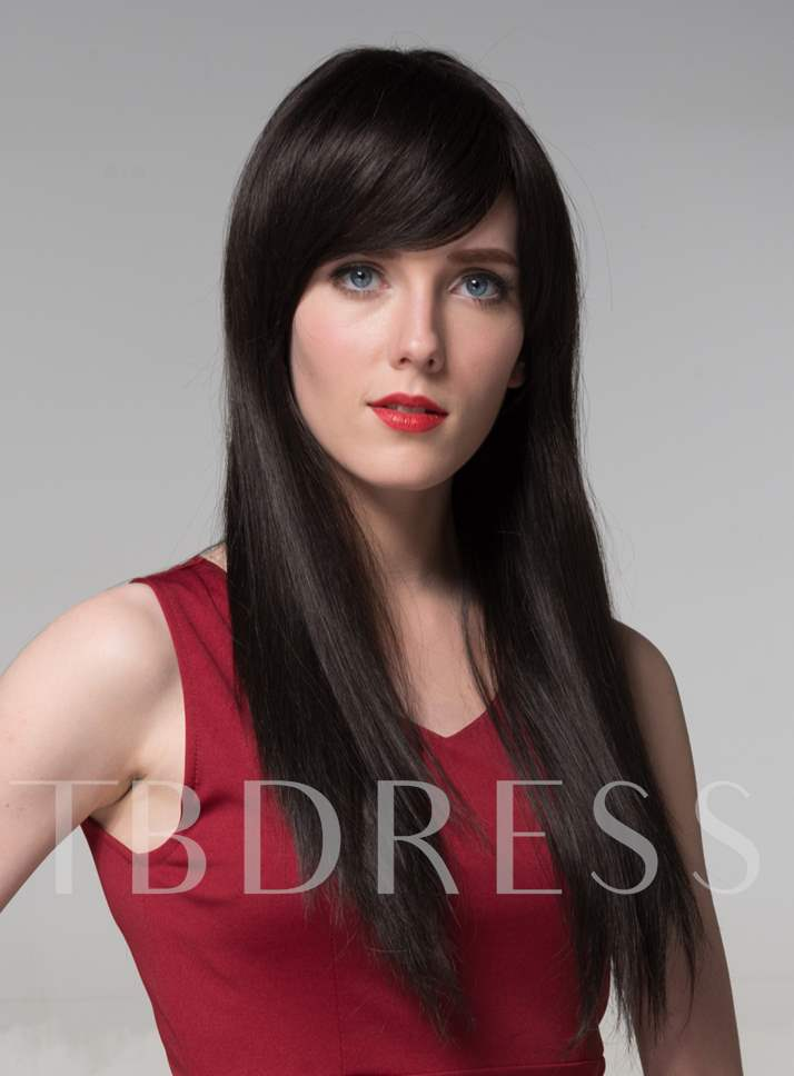 Long Straight Natural Black Human Hair Wigs 24 Inches