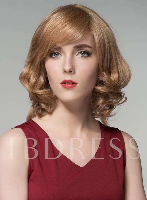 Medium Bottom WavyBeautiful Human Hair Capless Wig 12 Inches