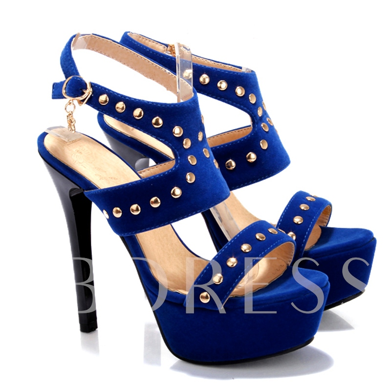 Rivet Platform Plain Stiletto Heel Peep Toe Women's Sandals