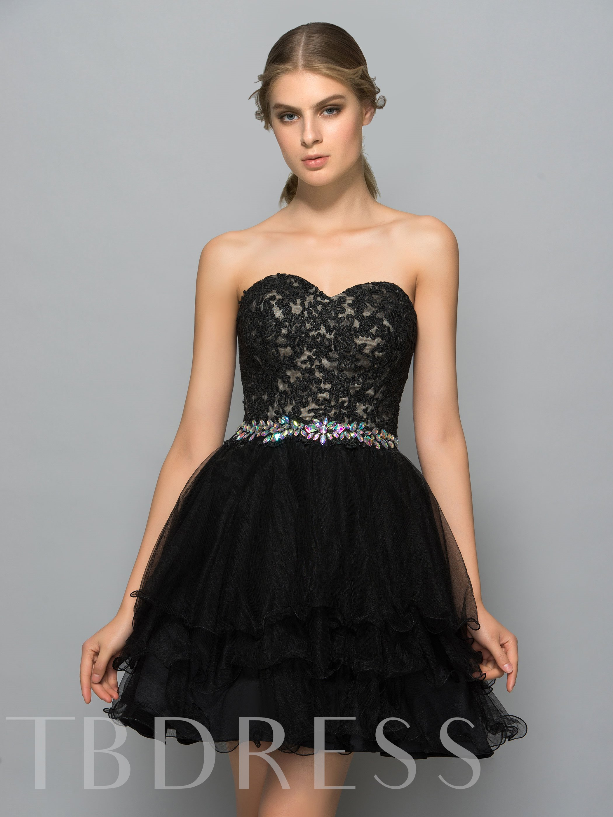 Image of A-Line Appliques Rhinestone Tiered Cocktail Dress