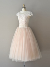 A-Line Lace Bateau Knee-length Prom Dress