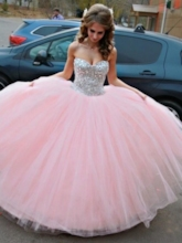 Beading Sweetheart Ball Gown Pink Wedding Dress