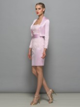Lace Appliques Sheath Short Mother Dress With Jacket
