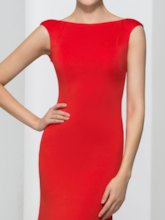 Bateau Neck Mermaid Backless Red Evening Dress
