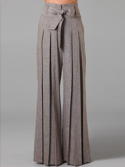 Pleated Bowknot Belt Palazzo Women's Pants