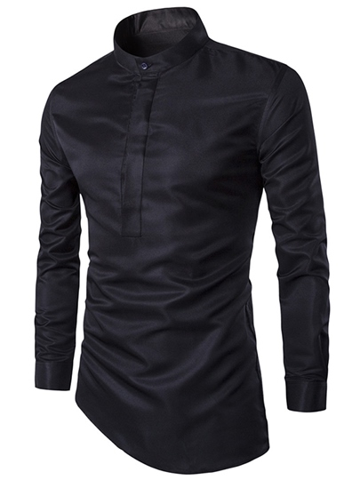 Men's Shirt with Irregular Hem