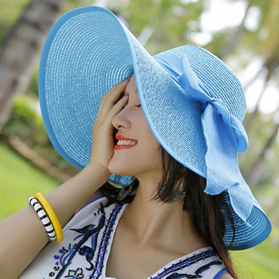 Exaggeratively Big Brim with Bowtie Decor Women's Hat