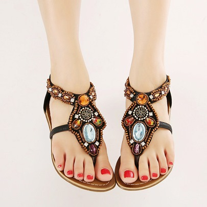 Square Heel Zipper Bead Rhinestone Flat Heel Women's Sandals